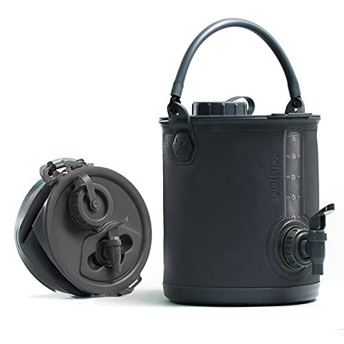 Colapz 2-in-1 BPA-freier Faltbarer Wasserbehälter mit Hahn - tragbarer Camping-Wasserkanister - Falteimer fürs Wohnmobil oder den Wohnwagen - Grau