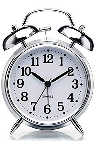 VN Stores Vintage Look Twin Bell Table Alarm for Heavy Sleepers Wind-Up Clock with Night Led Light (Design 1) (Pack of Single)