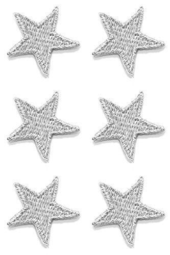 6 Aufnäher Bügelbild Aufbügler Iron on Patches Applikation Sticker Stern 2,2 x 2,2cm Farbe: Lurex-Silber Vor125-95