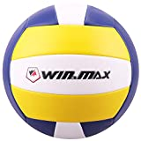 WIN.MAX Ballon de Beach Volley, Ballon de Volley, Volley-Ball, Soft Touch pour Adultes et Enfants (Jaune/Marine)