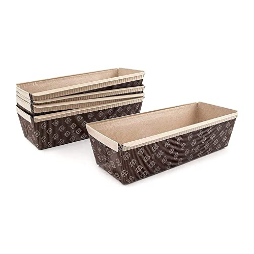 Paper Loaf Pan, Disposable Paper Baking Loft Mold 25ct, All Natural, Recyclable, Microwave Oven Freezer Safe, Providing Beautiful Display for Baked Goods (Loft Pan 9' x3' x2.75')