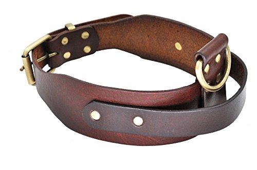 SLZZ Collar de piel para perro con asa – Buen control para perros medianos y grandes – Heavy Duty cómodo y suave Latigo Cuero auténtico – Cuello ajustable de 18 a 22 pulgadas