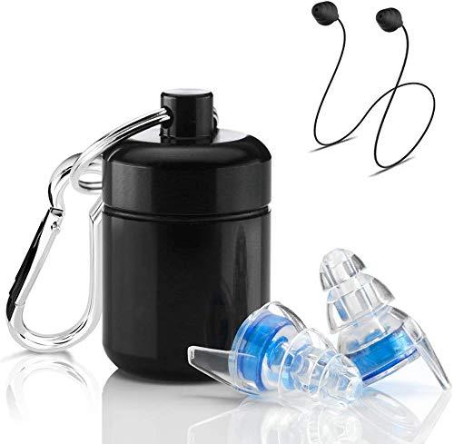 ProSound Gehörschutz Ohrstöpsel für Konzerte, Musiker, Festivals und Clubs mit Aluminium-Tragetasche, bequem, professionell, transparent, Gehörschutz gegen laute Geräusche
