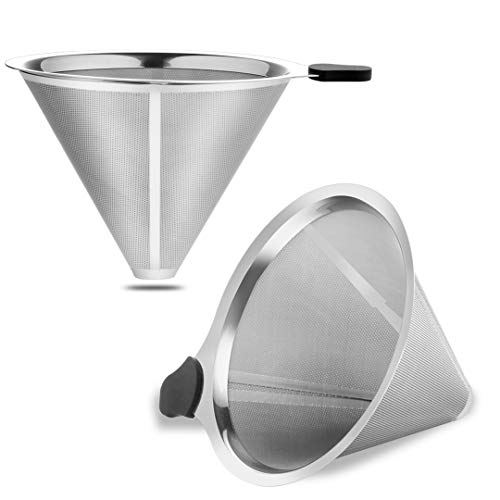 Meichu Coffee Filter for Chemex Stainless Steel 2PCS Pour Over Metal Coffee Dripper Reusable Cone filter for Chemex, Carafes and Other Coffee Makers (2 Silver Pack)