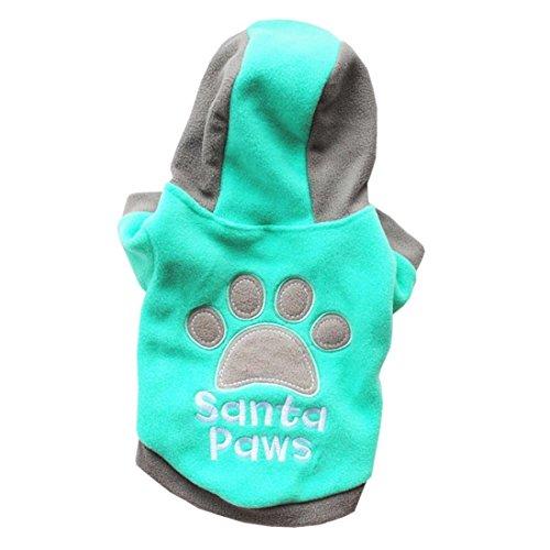 Hmeng Winter 100% Baumwolle Casual Haustiere Hund Kleidung Warm Mantel Kapuzenjacke Kleidung für Hunde (XS, Grün)