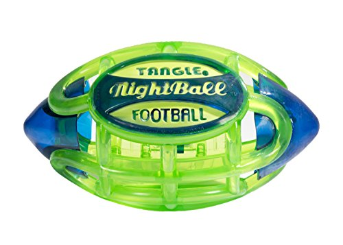 Tangle NightBall Glow in the Dark Light Up LED Football, Green with Blue