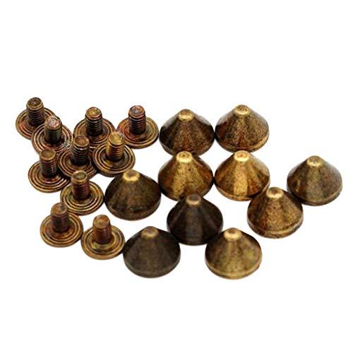joyMerit 10x Pyramidennieten, Pyramiden Nieten, Ziernieten, Leder Kegel Nieten zum Schrauben, Legierung - Grüne Bronze