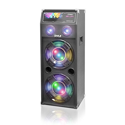 Passive Tower PA Speaker System - High Powered 1400W Disco Jam Outdoor Portable Sound Speakers w/ Dual 12' Subwoofer, 3' Tweeter, LED DJ Lights - 35mm Stand Mount, Handles - Pyle Pro PSUFM1240P