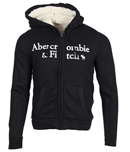 Abercrombie & Fitch Sudadera con capucha para hombre. Negro L