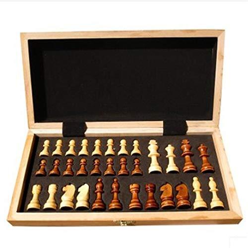 Juego de Mesa Plegable de Madera Internacional de Ajedrez Juego de Piezas Set Juego de Mesa Divertido Juego de ajedrez Colección portátil (Color : 40x40cm)