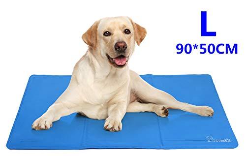 Pecute Alfombra Refrescante para Perro Actualización Engrosada 0.4mm 300D Oxford Alfombrilla de Refrigeración Automática para Animales de Compañía (L(50*90cm))