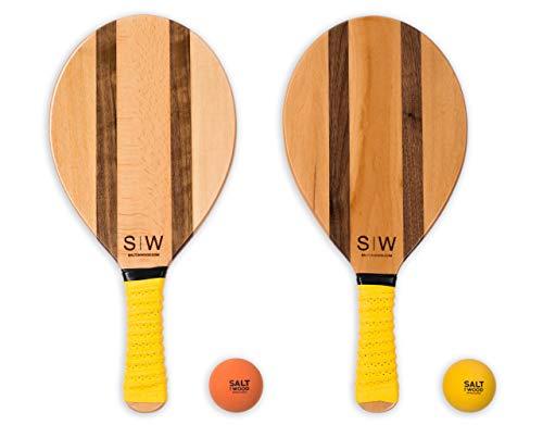 Salt on Wood S|W Frescobol Set | Hochwertige Beachball-Schläger aus Holz Extrem schnelle Ballwechsel im Beach-Tennis (Gelb)