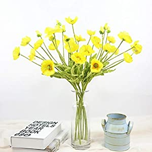 Miley S Artificial Flowers Fake Poppy Flowers 5 Bundles Bouquet for Home Wedding Party Decoration Fake Silk Flower (Yellow)
