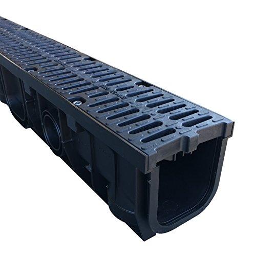 Entwässerungsrinne 1 Meter mit Kunststoffrost Gussdesign (rostfrei) LKW befahrbar Belastungsklasse B 125