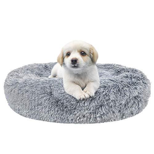 DanceWhale Rund Hundebett Flauschig Katzenbett Waschbar Hundekissen Weiches Plüsch Donut Haustierbett für Katzen Hunde (Kleine, Grau)