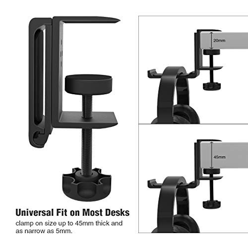Foldable Headphone Stand Hanger Holder Bracket Aluminum Headset Soundbar Stand Clamp Hook Under Desk Space Save Mou   nt Fold Upward Not in Use, Universal Fit All Headphones, Black