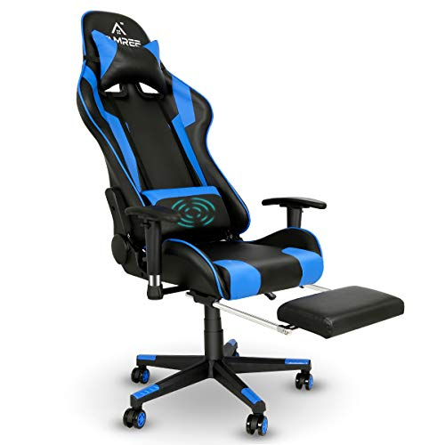 Famree Gaming Chair Racing Style Office Computer Chair Massage Ergonomic PU Leather PC Chair with Lumbar Pillow Headrest Armrest Footrest Adjustable Swivel High-Back
