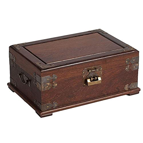 erddcbb Jewelry Box Redwood Mini Suitcase Double Layer with Lock and Mirror Antique Hand Jewellery Box Storage Trinket Box