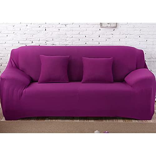 yunge Solide Muster Schonbezüge Sofabezug Stretch Sofabezüge für Wohnzimmer Farbe Stuhl Sofabezug Rot-Amaranth, 3-Sitzer 190-230cm