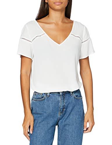 Vila NOS Damen VIMERO Detail S/S TOP/SU -NOOS T-Shirt, Snow White, 38