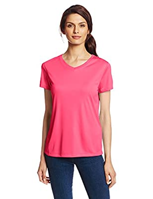 Hanes Sport Women's Cool DRI Performance V-Neck Tee,Wow Pink,Large