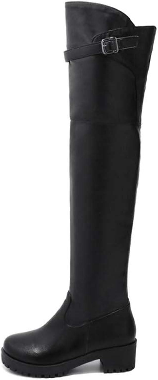 727e281119bdf Women Knee High Boots Thick Heel Over The Knee Platform Punk Boots ...