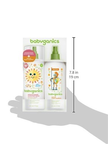 Babyganics SPF 50 Baby Sunscreen Spray UVA UVB Protection and DEET Free Bug Repellent, 2 Pack (6 Ounce)