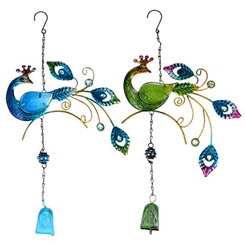 Hemoton Pfau Wind Glockenspiel Outdoor Indoor Metall Hängen Wind Glockenspiel Garten Windglocke Fee Windspiel für zu Hause Zimmer Fenster Wandbehang Dekorationen 2St