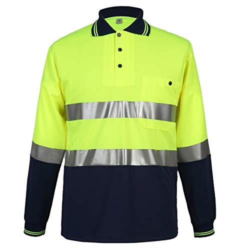 HSNMEY Unisex Warnschutz T-Shirt hochsichtbar Warnschutzkleidung 3M reflektierend für Arbeit Frühling/Sommer/Herbst, Schwarz Gelb/Langarm 2XL