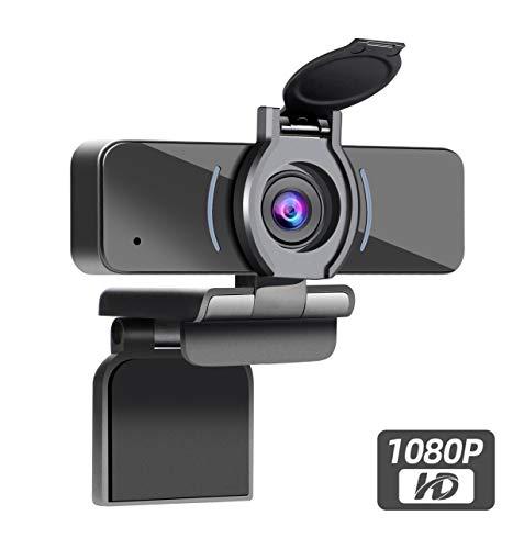 Dericam 1080P Webcam mit Mikrofon- und Datenschutzabdeckung, USB-Computer-Webcam, Computer-HD-Streaming-Webcam für PC Desktop & Laptop mit Mikrofon, Weitwinkelobjektiv