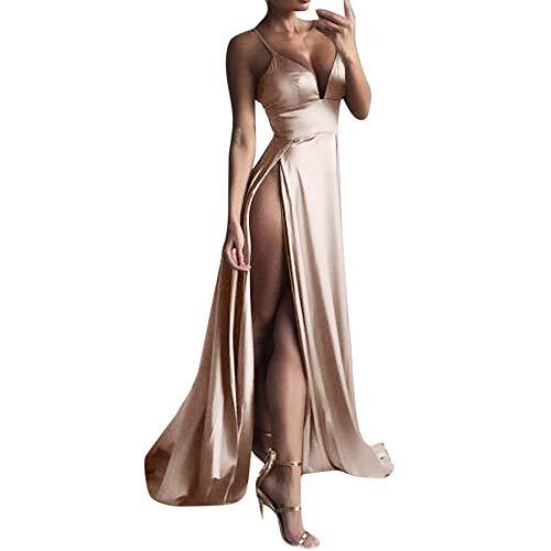 Elegante Kleider Damen Kleid Cocktailkleider Ronamick Hoch-Split Kleid Maxikleid Sexy Frauen Solid Party Clubwear Lange Abendkleider(L, Khaki)