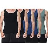 EKSHER Camiseta de Tirantes para Hombre Pack de 5 de Algodón 100% Negro Azul Marino Olive XXL