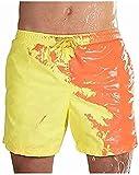 Mcaishen Pantalones De Playa para Hombres De Verano Explosiones Pantalones Cortos De Color Sensibles Al Agua Pantalones De Playa Que Cambian De Color Sensibles A La Temperatura.(M,Yellow)