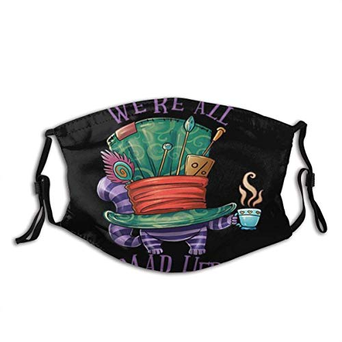 Face Cover We're All Mad Here Cheshire Cat in Mad Hatter's Hat Holding A Cup of Tea Alice in Wonderland Balaclava Neck Gaiter halloween mask