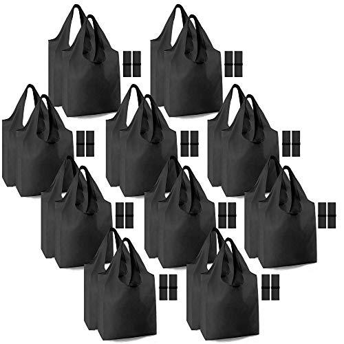 Schwarze Einkaufstaschen für Lebensmittel, wiederverwendbar, extra groß, 22,7 kg, maschinenwaschbar, mit elastischem Band, leichte Tragetasche, Bulkware, langlebig, umweltfreundlich, Polyester
