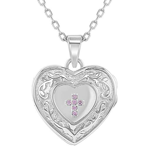 925 Sterling Silver Girl's 16' Pink Cubic Zirconia Religious Cross Heart Locket Pendant Necklace - Dainty Cross Jewelry Piece for Preteens & Teens - Stunning CZ Photo Pendant Accessories for Girls