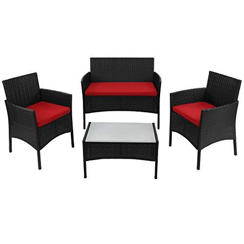BB Sport 7-teilige Polyrattan Sitzgruppe für 4 Personen inkl. Sitzpolster und Tisch Balkonmöbel Set Sitzgarnitur, Farbe:Titan-Schwarz/Abendsonne