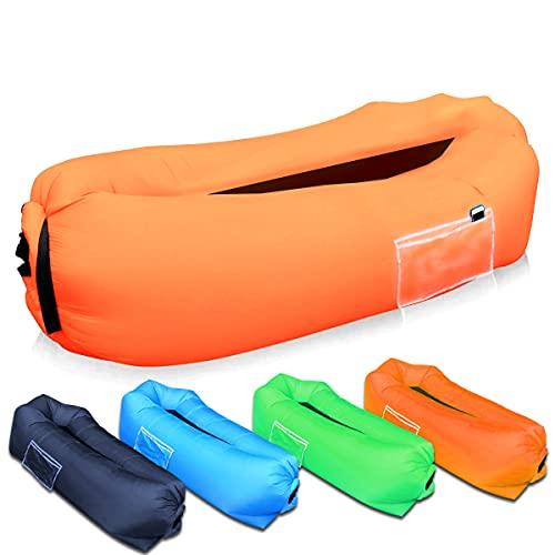 SUPTEMPO Aufblasbares Sofa, tragbarer Sitzsack Outdoor Wasserdichtes Luftsofa Air Lounger Luftcouch für Camping, Garten, Strand (Orange)