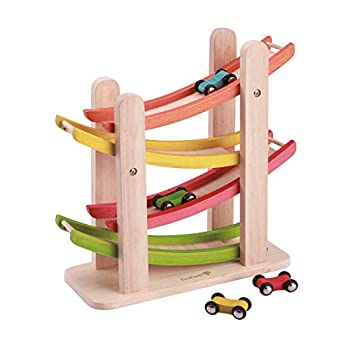 EverEarth Jr Ramp Racer Race Track for Toddlers and 4 Wood Cars Race Car Ramp Set