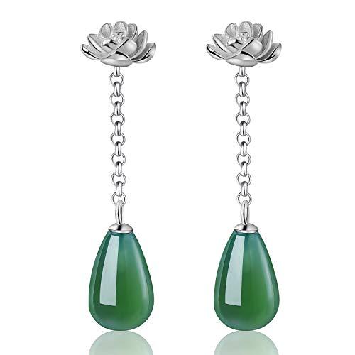 Lotus Fun S925 orecchini da donna in argento Sterling con agata naturale di loto, gocce dacqua, orecchini a goccia, gioielli unici fatti a mano