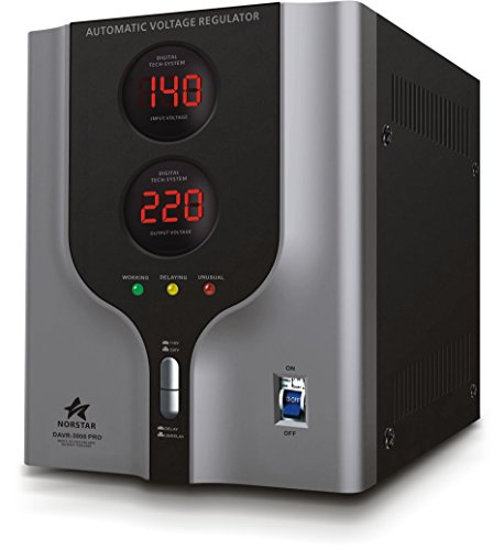 Norstar DAVR-3000 3000 Watt 110/120 to 220/240 or 220/240 to 110/120 Step UP and Down Voltage Transformer and Automatic Voltage Regulator Stabilizer