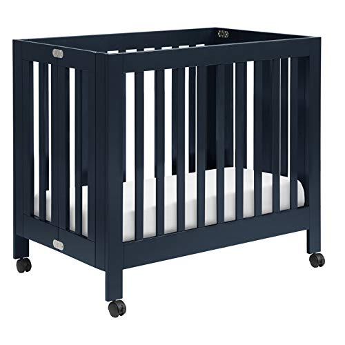 Babyletto Origami Mini Portable Crib with Wheels in Navy, 2 Adjustable Mattress Positions, Greenguard Gold Certified