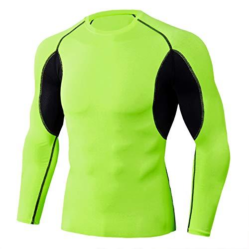 Camisa de correr para hombre de secado rápido y elástico para hombre, camiseta de compresión de alta elasticidad, se puede utilizar para gimnasio, correr,senderismo, entrenamiento. Verde fluorescente