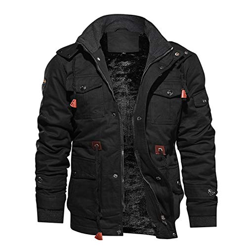 Men Jacket Winter Jacket Coat Fleece Pilot Jackets Cargo Jacket Windbreaker Men's,Black,L