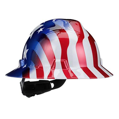 MSA RedWhiteBlue Polyethylene Cap Style Hard Hat With 4 Point Ratchet Suspension