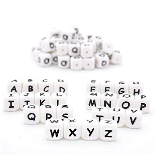Silicona Alfabeto 26 Letra Cuentas de Cubo de Dentición para Bebés 12mm 60pcs para Cadena de Chupete DIY Pulsera Collar Mordedor Bebé