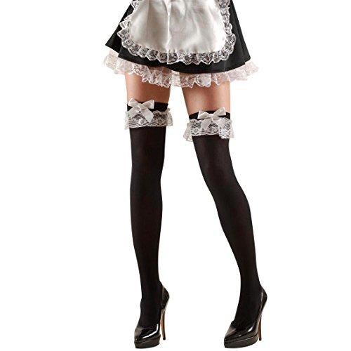 NET TOYS Zimmermädchen Overknees Halterlose Strümpfe schwarz-weiß Sexy Overknee Kniestrümpfe Damenstrümpfe Kostüm Accessoire Zofe Maid