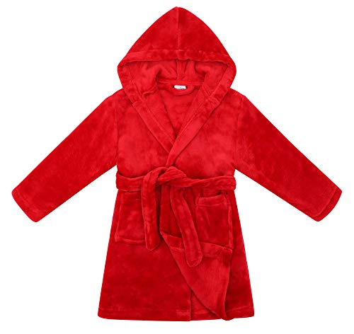 Girls Boys Bathrobes,Plush Soft Flannel Bath Robes with Hooded Pocket,Red,S