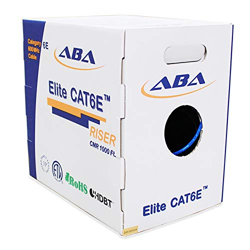 CAT6E Riser (CMR), 1000ft, UTP 24AWG, Solid Bare Copper, 600MHz, UL Certified, Easy to Pull (Reelex II) Box, Bulk Ethernet Cable in Blue