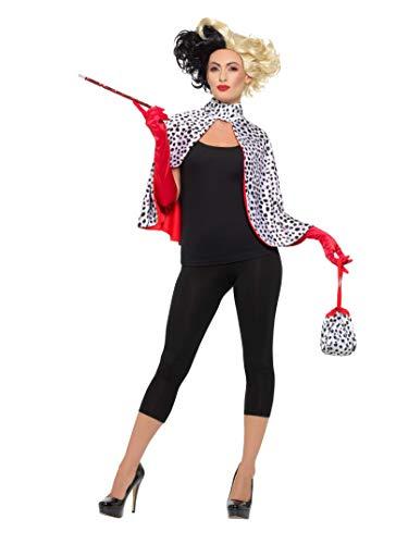 Smiffys 47314 Deluxe Evil Madame Kit, Damen, schwarz/weiß, Einheitsgröße